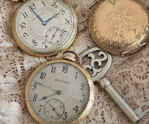 vintage, pearls, and clock image