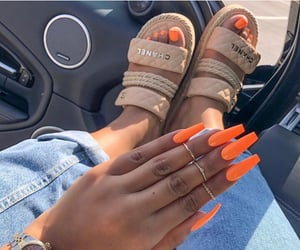 nails, chanel, and orange image