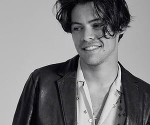 Harry Styles, black and white, and smile image