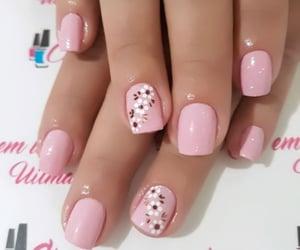 baby pink, floral, and nail polish image