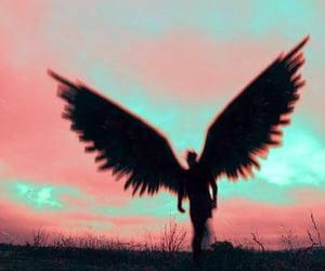 wings, angel, and dark image