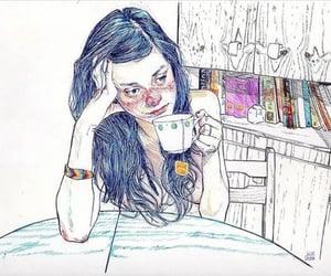 girl, art, and tea image