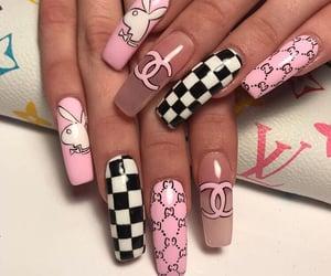 nails, pink, and Playboy image