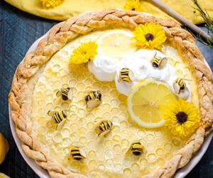 pie, yellow, and bee image
