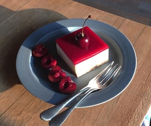 cake, cherry, and dessert image