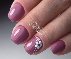 flowers, dusty purple, and nail art for beginners image