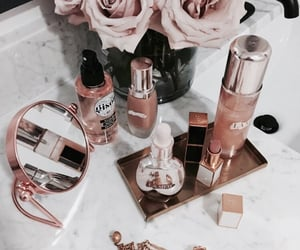 makeup, flowers, and rose image