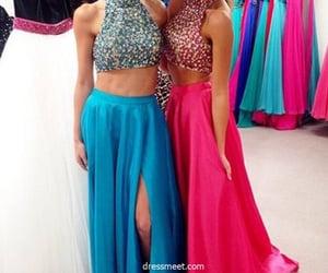 beading, evening dresses, and blue prom dress image