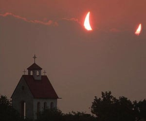 Devil, church, and red image