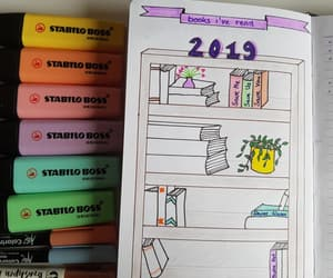 book shelf, inspiration, and bullet journal image