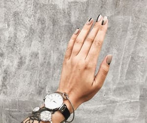 black nails, nails, and watch image