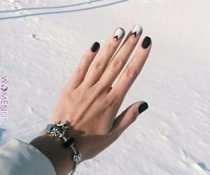 black nails, nails, and snow image
