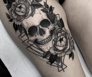 art, skull, and tattoo image