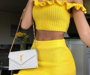 style, fashion, and yellow image