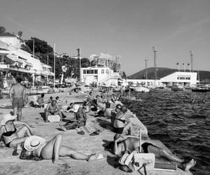 beach, black and white, and Montenegro image