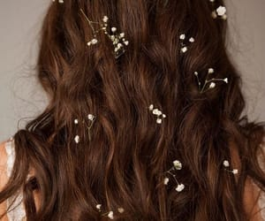 flowers, white, and hair image