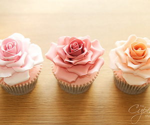cupcake, rose, and food image