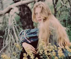 forest, long hair, and meadow image