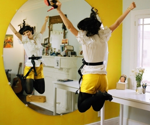 mirror, happy, and jumping image