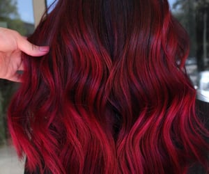 red hair, balayage, and claret hair color image