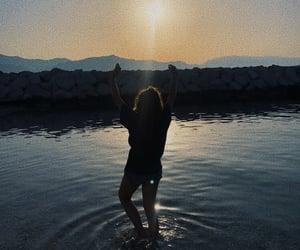beach, sunrise, and girl image