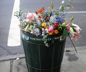 flowers, trash, and new york image