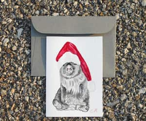 christmas card, santa claus hat, and dog watercolor art image