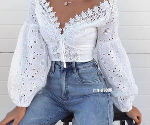 blouse, look, and outfit image