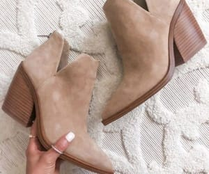 ankle boots, tan boots, and boots image