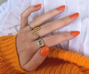 nails, orange, and jewelry image