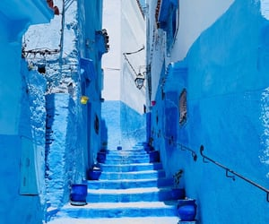 blue, morocco, and stairs image