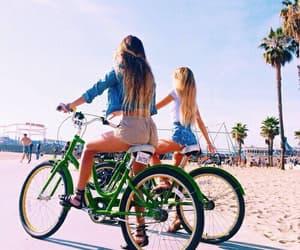 beach, vacances, and bike image