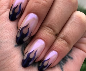 black nails, acrylic nails, and claws image