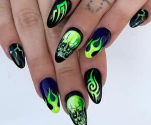 Black Metal, black nails, and acrylic nails image