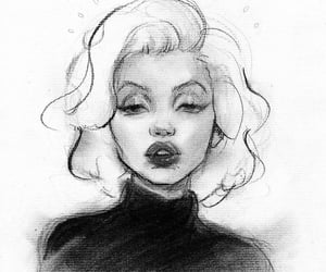 black and white, drawing, and Marilyn Monroe image
