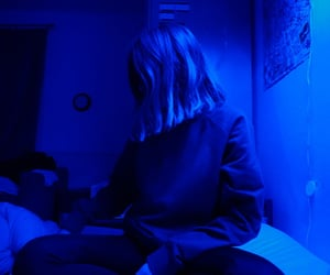 black, blue aesthetic, and glow aesthetic image