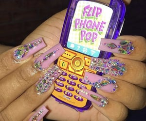 pink nails, flip phone, and grabbers image
