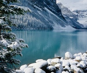 lake, mountain, and snow image