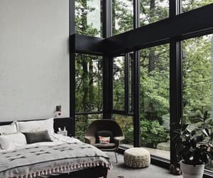 bedroom, nature, and windows image