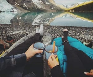 love, camping, and couple image