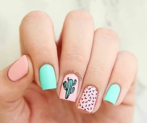 cactus, nails, and pink image