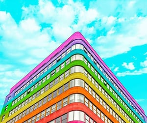 building, rainbow, and sky image