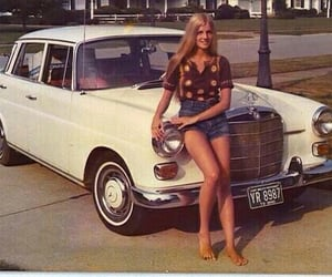 girl, car, and 70s image