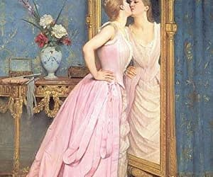 art, blonde, and pink dress image