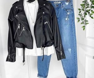 boyfriend jeans and moto jacket image
