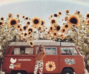 hippie, girl, and sunflower image