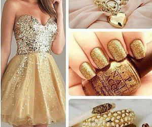 dress, gold, and nails image