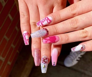 barbie, glitter, and nails image