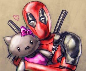 superhero, deadpool & hello kitty, and cute illustrations image