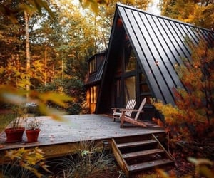 autumn, house, and cabin image